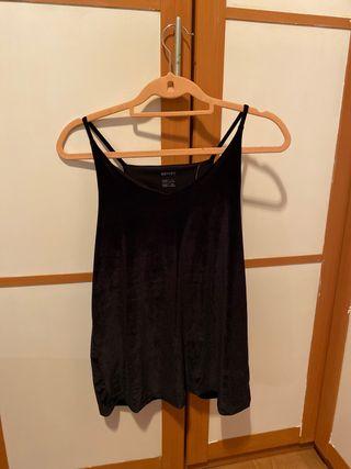 Camiseta tirantes terciopelo negro