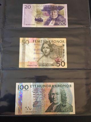 Lote de billetes de coronas suecas (circulados)