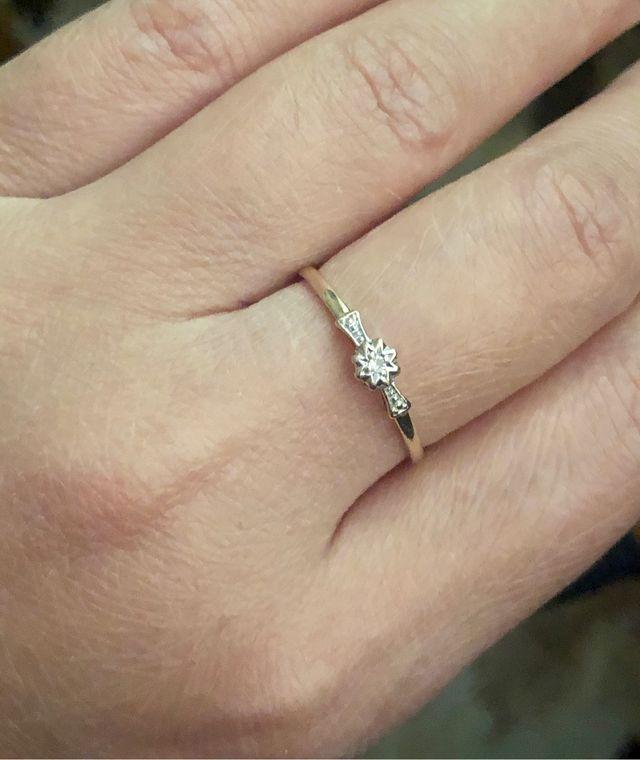 9k gold small diamond ring