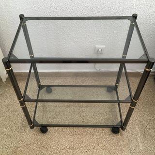Mueble auxiliar cristal con ruedas