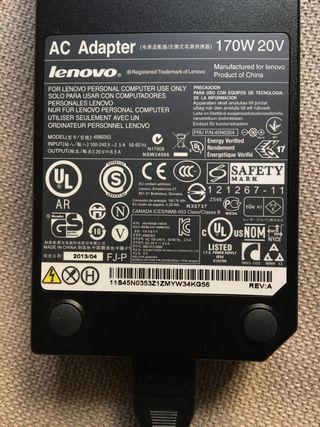 Lenovo Cargador adaptador 170 W 20V