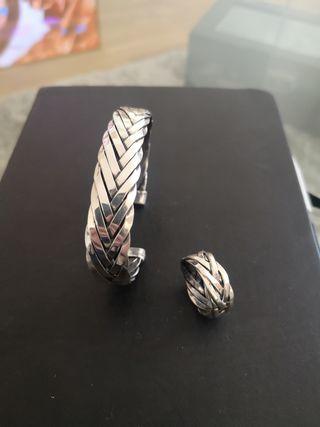 Conjunto pulsera + anillo hombre plata 950