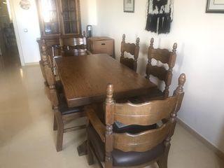 Conjunto muebles de roble macizo