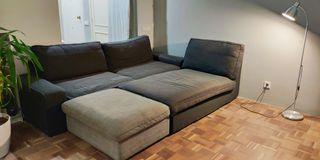 Conjunto puf, chaiselongue y sofá cama