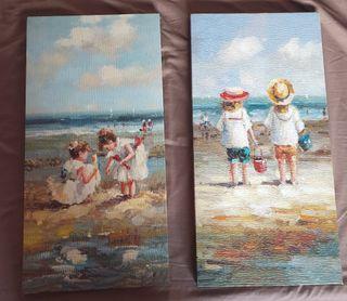 Niños&mar (2 Lienzos)
