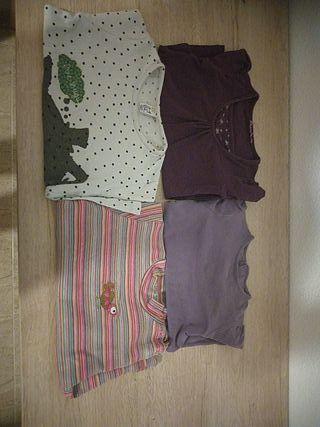 lote 4 camisetas niña manga larga