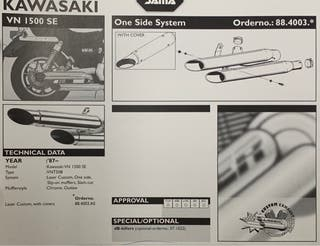 ESCAPES JUEGO KAWASAKI VULCAN VN 1500 SE 87>