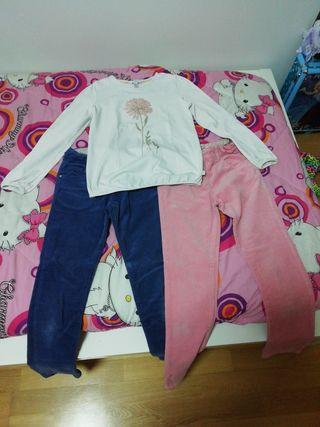 2 Pantalónes de pana + 1 camiseta T. 9-10