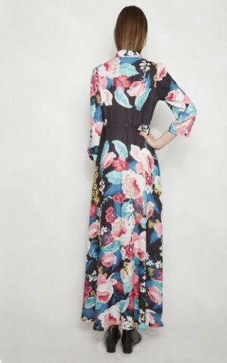 Vestido largo camisero estampado floral