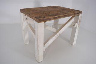 Mesita Banqueta madera restaurada estilo rústico