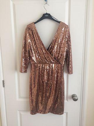 Deep V-Neck, sparkly golden dress