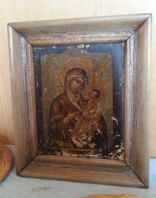 Icono religioso. Enmarcado en madera