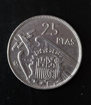 Moneda de 25 Pesetas 1957 Serie BA