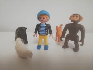 Niño con animales y mascotas gato mono oso gallina