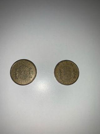 Monedas de 100 pesetas 1983 y 1998