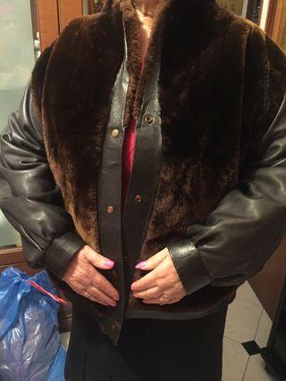 Abrigo corto de piel y chinchilla