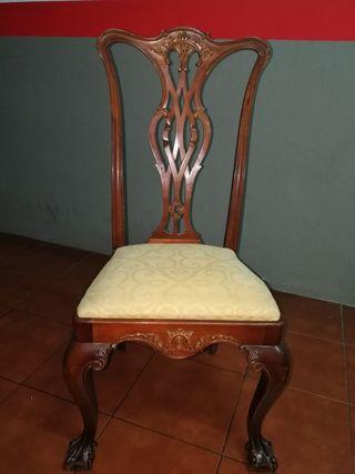 5 sillas de comedor madera caoba antigua