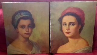 Pinturas cuadros dos bellas damas
