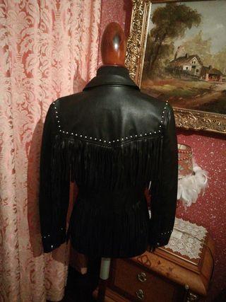 Cazadora chaqueta talla M negra polipiel cuero
