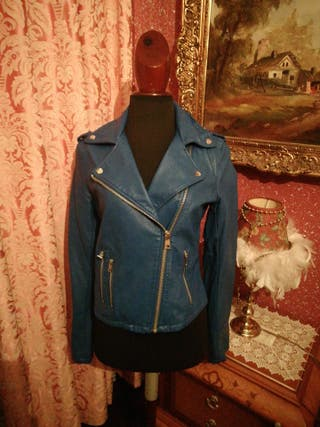Cazadora NUEVA chaqueta talla S azul polipiel