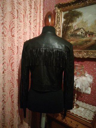 Cazadora chaqueta talla S negra polipiel cuero