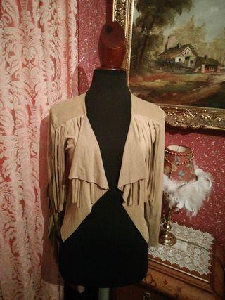 Cazadora chaqueta nueva talla S marrón flecos