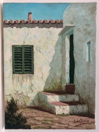 Huile sur toile de J. Aguilo Maison majorquine