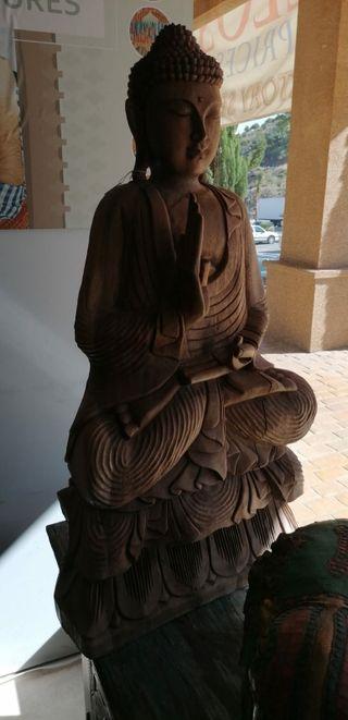 Escultura Buda en madera de teca 1 metro