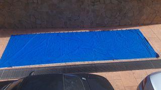 Toldo azul lona balcón o terraza, cortina
