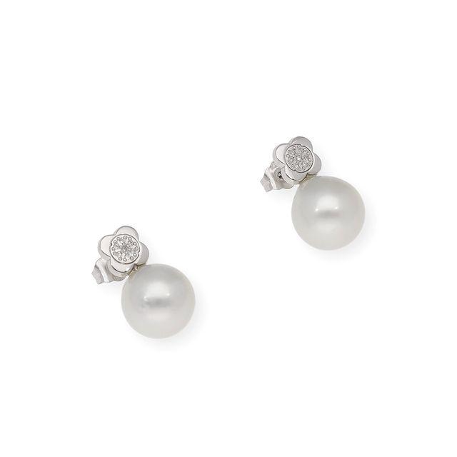 Pendientes Oro 18k Perlas Australianas y Diamantes