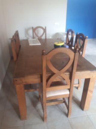 mesa mexicana y seis sillas