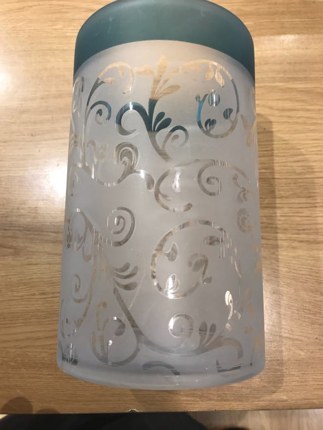 Teal Yankee candle jar holder