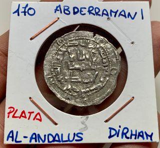 Moneda PLATA ARABE DIRHAM ABDERRAMAN I 170