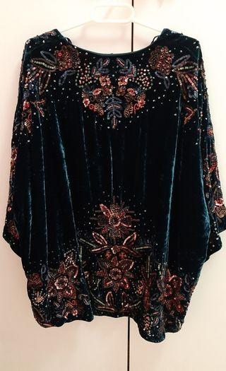 Chaqueta kimono lentejuelas zara