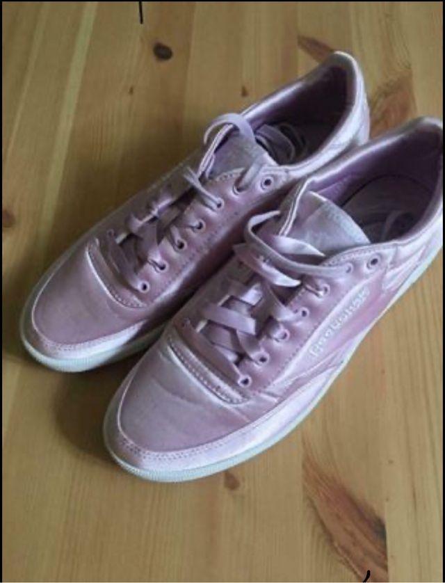 Reebok pink satin women's trainers