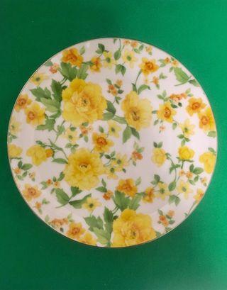 Plato flores amarillas borde dorado