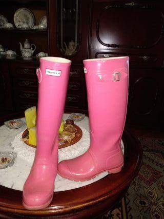 botas altas hunter rosas