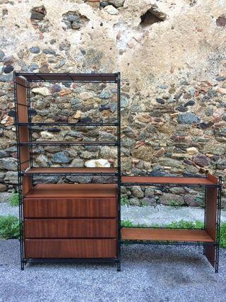 Estanteria modular vintage con cajonera.
