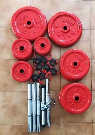 Pesos, mancuernas, barra y soporte SALTER