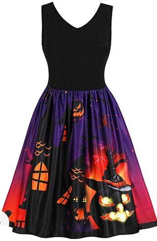 Vestido Vintage Sin Mangas De Calabazas Halloween