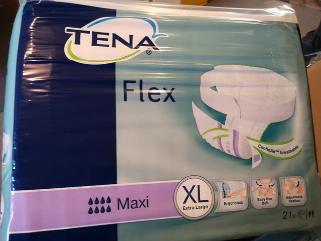 tena Xl 8 boxes with 21 in each.