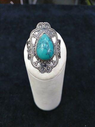 anillo plata de ley 925 con turquesa