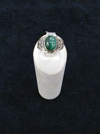 anillo plata de ley con malaquita