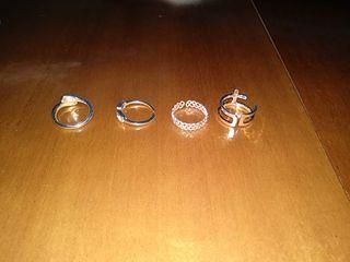 cuatro anillos de plata para mujer