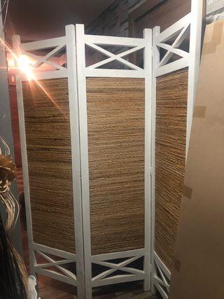 Paraban de madera y rafia 190 alto a 150 ancho