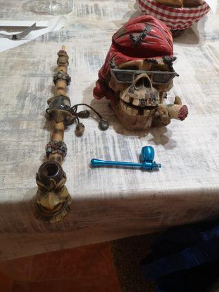 conjunto de dos pipas de las Palmas y cenicero