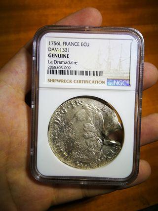 Moneda 1 ECU plata Francia de barco hundido 1762