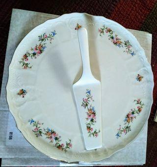 Plato y pala tarta cerámica