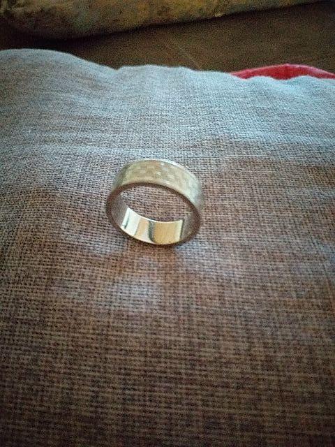 anillo de acero y plata de hombre