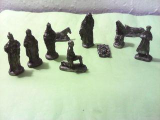 lote de 10 figuras de belen nacimiento en metal